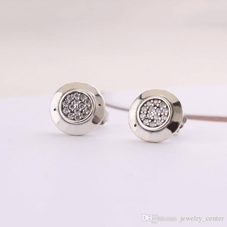 Signature de logo pour femme en argent sterling 925 authentique avec boucles d'oreilles en cristal pour femmes Compatible avec les bijoux Pandora