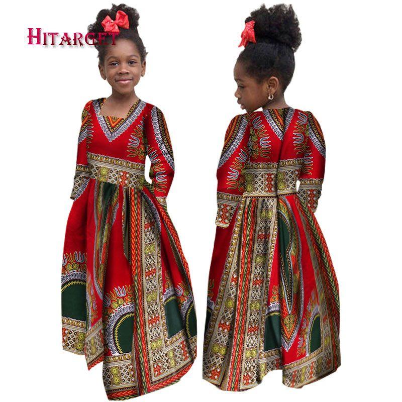 53b6d54dcbeea African Autumn Girl Dress Kids Dashiki Traditional Cotton Long Sleeve  Dresses Matching Africa Print Girl Natural Dress WYT61