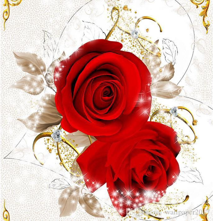Paintings Wallpaper Red Love Rose Zenith Fresco Wall Background 3d