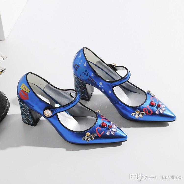 Scarpe Primavera Donna argento blu Button Scarpe cristallo strass tacchi alti modello di stampa Runway Pumps zapatos mujer