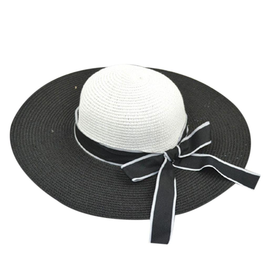 Womens Summer Bowknot Ribbon Large Wide Brim Straw Hat Sun UV Face ... 7728e29f5f45
