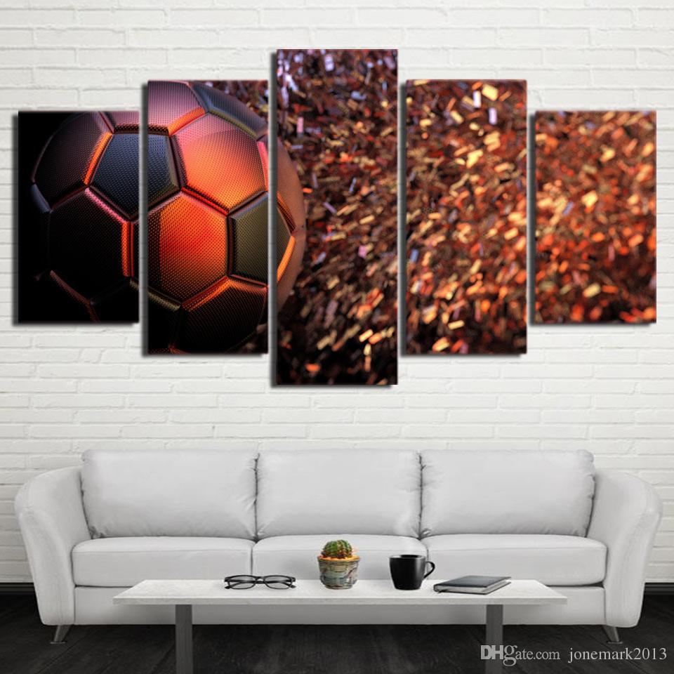 HD напечатаны 5 шт. холст Живопись искусство футбол Модульная картина настенные панно для гостиной тренажерный зал плакат Бесплатная доставка CU-2682A