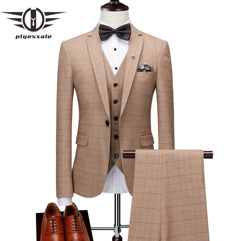 2019 Plyesxale Slim Fit Plaid Suit Men Brand Classic Mens Wedding