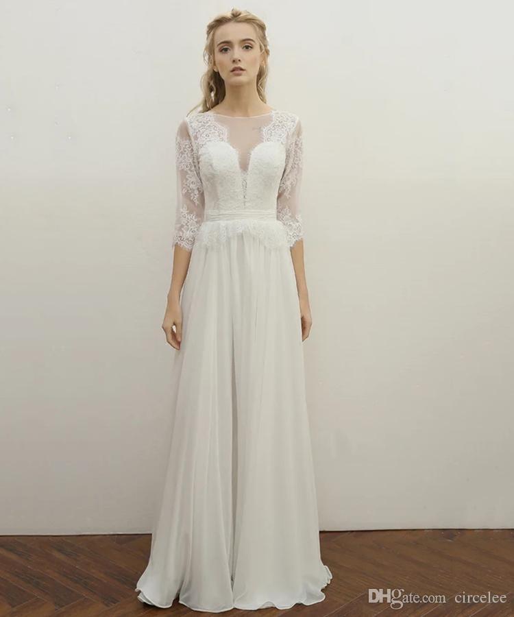 Discount Half Sleeves Lace Cascading Ruffles Simple Bride Wedding