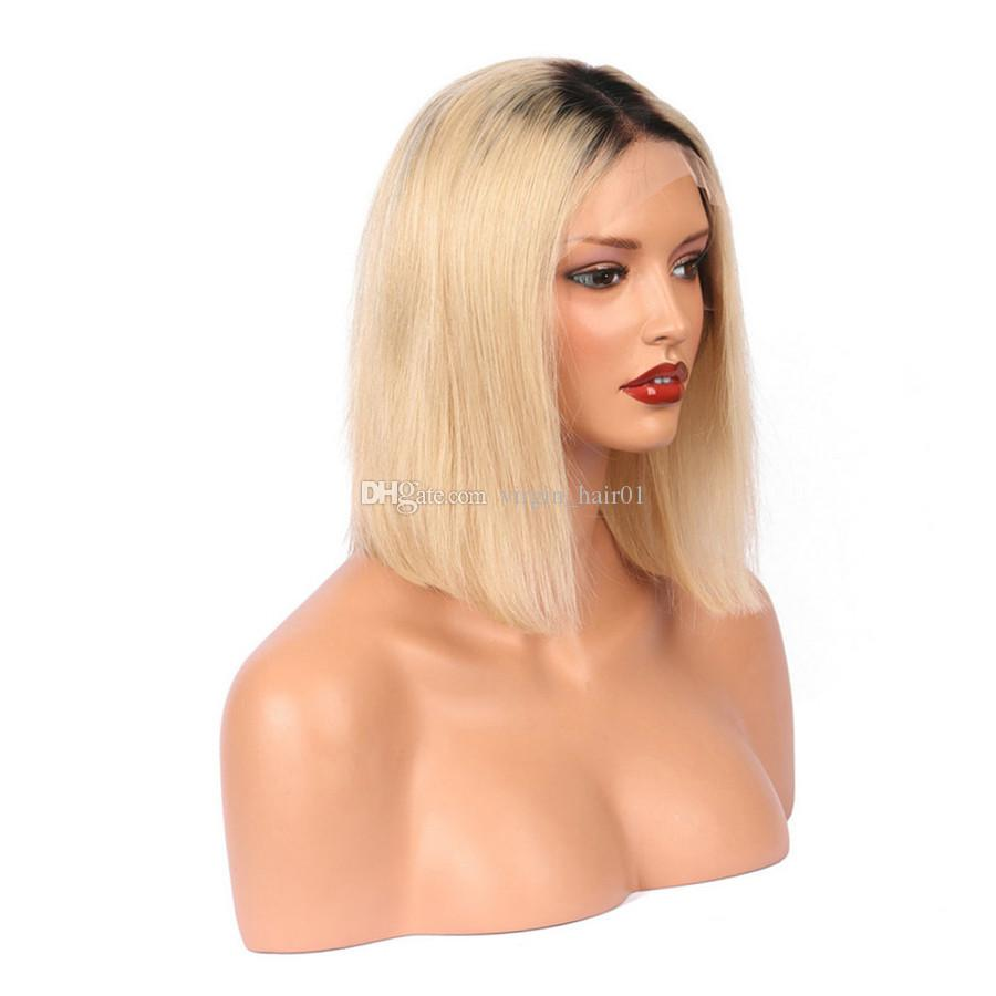 Silk Straight Ombre Hair Wig Two Tone 1b 613 Blonde Malaysian Virgin Hair Full Lace Wigs Bleached Blonde Front Lace Wig