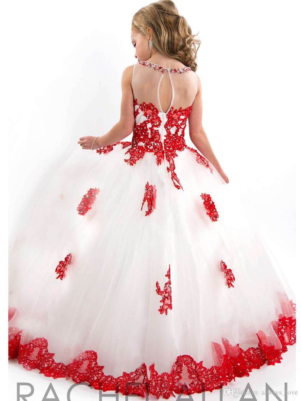 Cute White and Red Girl's Pageant Dress Princess Ball Gown Tulle Party Cupcake Pretty Little Kids Queen Flower Girl Dress