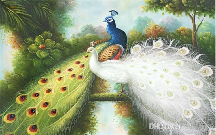 3d murals wallpaper customized 3d photo wall mural Hand painted peacock papel de parede do desktop wallpaper luxury