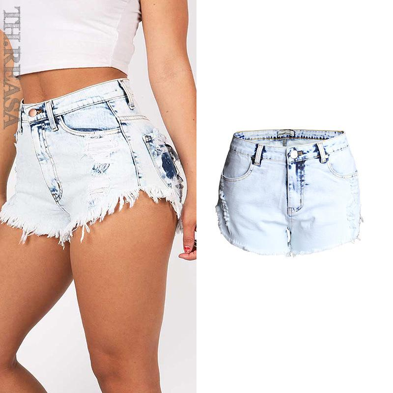 faa53cd6dcdf 2019 2017 Women Summer Shorts Fashion Vintage Ripped High Waisted Short  Jeans Sexy Hole Female Denim Shorts Plus Size WSSL038 From Easme, $26.28 |  DHgate.