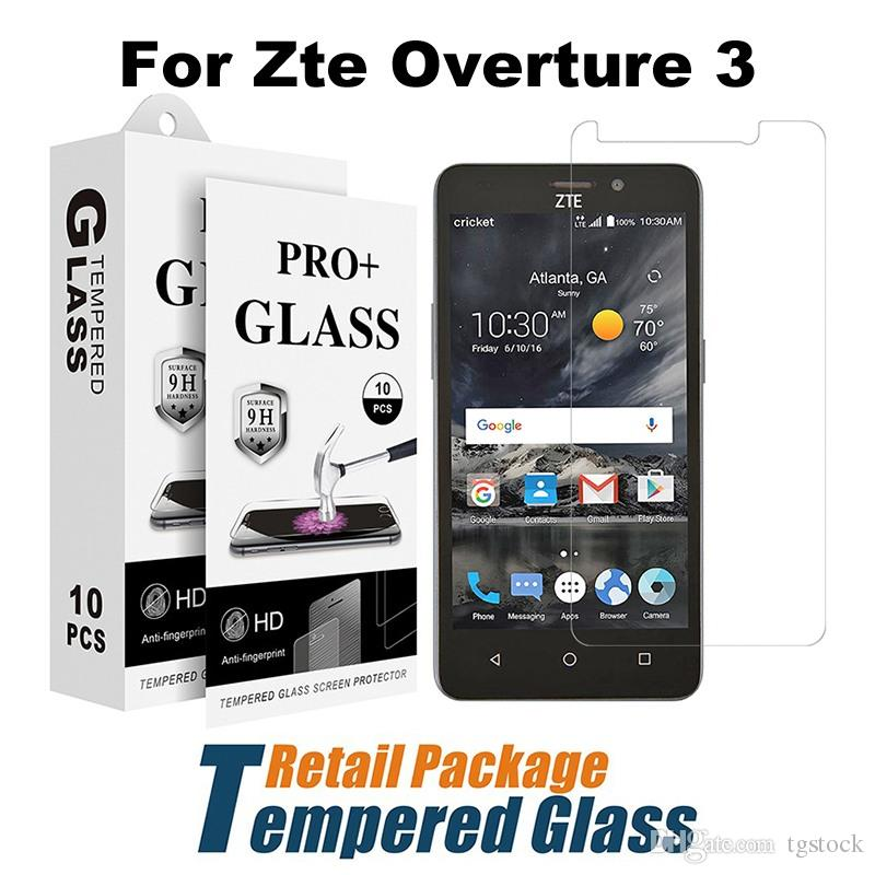 For Zte Overture 3 Regular Clear LG Stylo 4 Blade Zmax 2 Z982 Grand X3 Z959  Tempered Glass With Paper Package