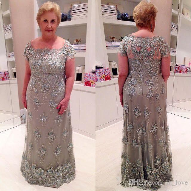 Grey Plus Size Mother of the Bride Dress Cap Sleeve Sparkly Appliques Floor  Length Column Formal Party Gowns Custom Size