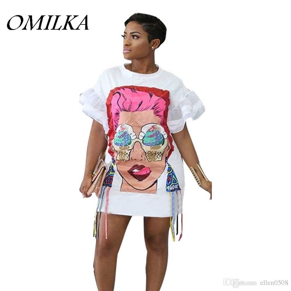 0c5267ee5777 OMILKA 2018 Summer Women Batwing Sleeve Mesh Cartoon Printed T Shirt Dress  Sexy Black White Harajuku Hip Hop Streetwear Dress Dress C Black Dresses On  Sale ...