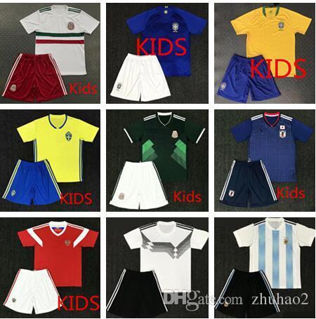 Compre 2018 2019 Crianças Kit Camisas De Futebol 2018 Copa Do Mundo  Argentina Messi Bélgica Colômbia México Espanha Japão Uruguai Criança Kit  Completo ... 5677df810a44f