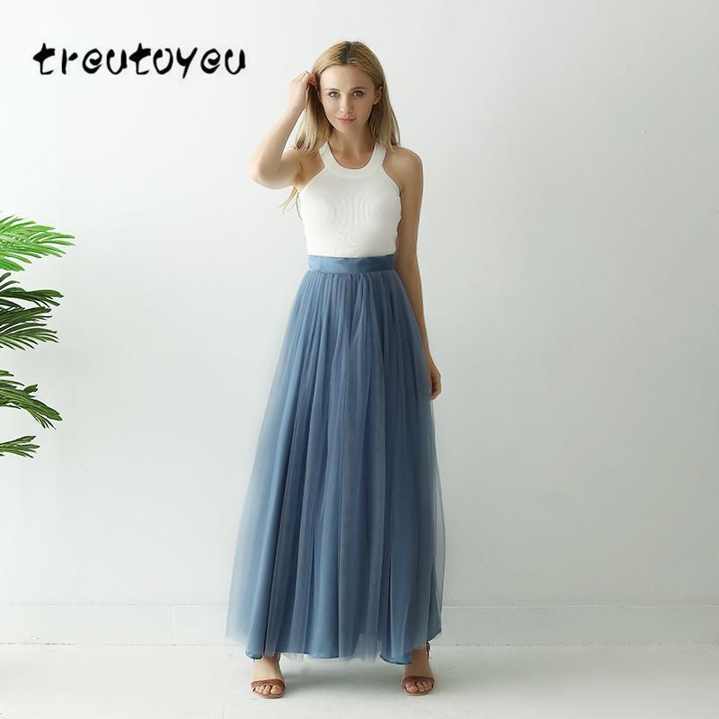 c87f366c5 Treutoyeu 3 capas Maxi Falda larga Falda de tul suave Talla grande Tutu  Mujer Polvo Azul largo vestido de bola Jupe Saias Faldas