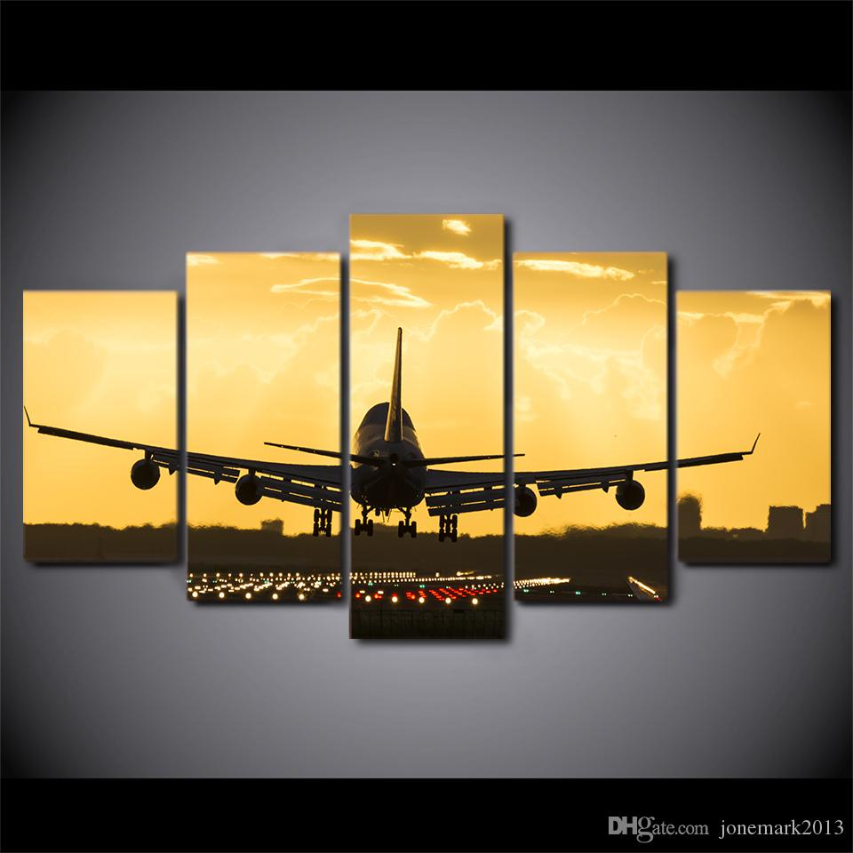 Wall Art Canvas Painting Golden Sunset HD Print Wall Canvas Art Airplane Posters For Room Decor CU-2784C