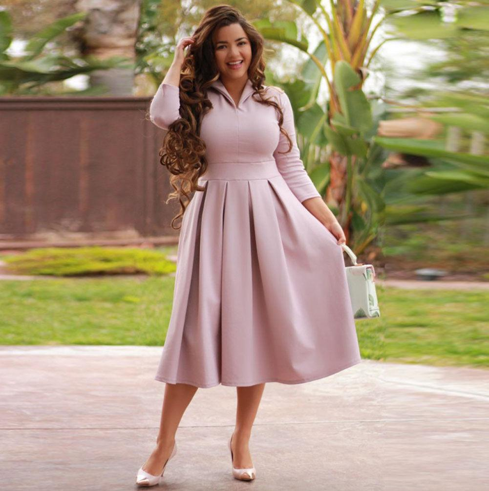 77c2765aec2b8 Ladies V-neck Evening Party Solid Pink Green Mid-Calf Dresses Plus Size  Women Autumn Casual Long Sleeve Holiday Long Maxi Dress