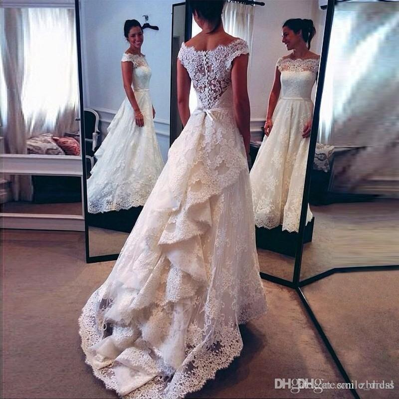 Discount A Line Top Lace Wedding Dresses 2017 Tiered Back Scalloped