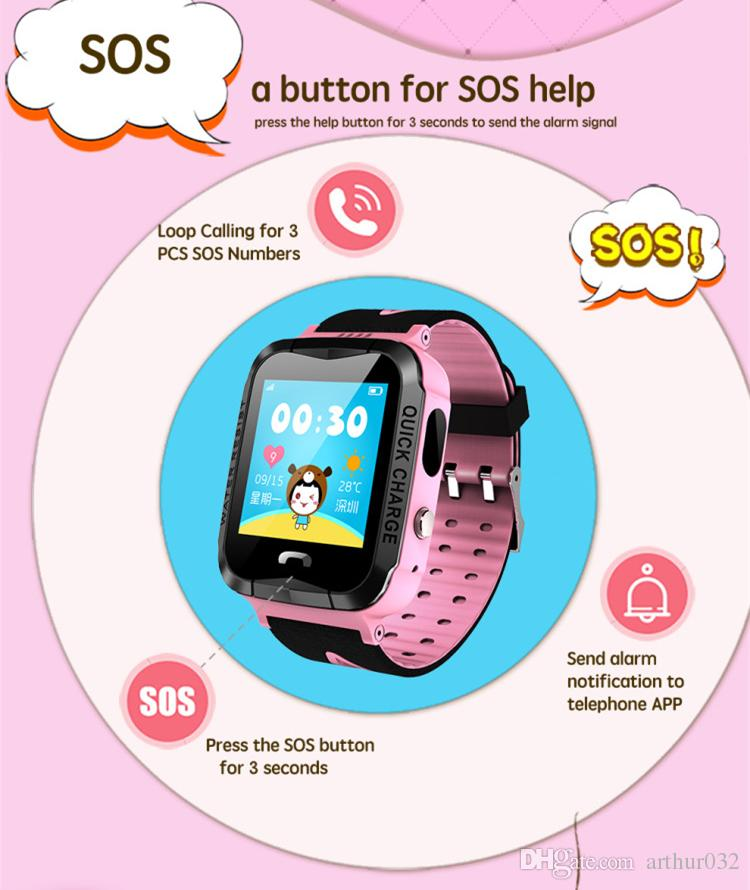 IP67 Waterproof GPS Kids Smart Watch V6G with Camera Flashlight SOS Call Location Touch Screen Anti-Lost Monitor Tracker Baby Smartwatch Q50