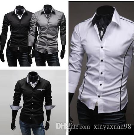 c8bebe937 2019 2017 Mens Fashion Luxury Stylish Casual Designer Dress Shirt Muscle  Fit Shirts 5 Sizes From Xinyaxuan98, $12.79 | DHgate.Com