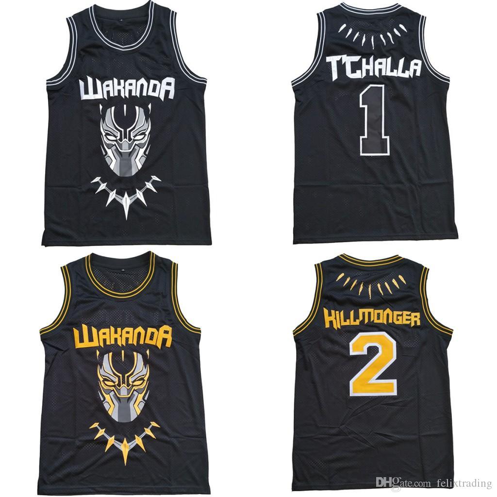 e628b0935 2019 The BLACK PANTHER Erik Killmonger JERSEY WAKANDA T CHALLA MOIVE  Costume Basketball Jersey Moive Jerseys Men Black Fast Free Shippin From  Felixtrading