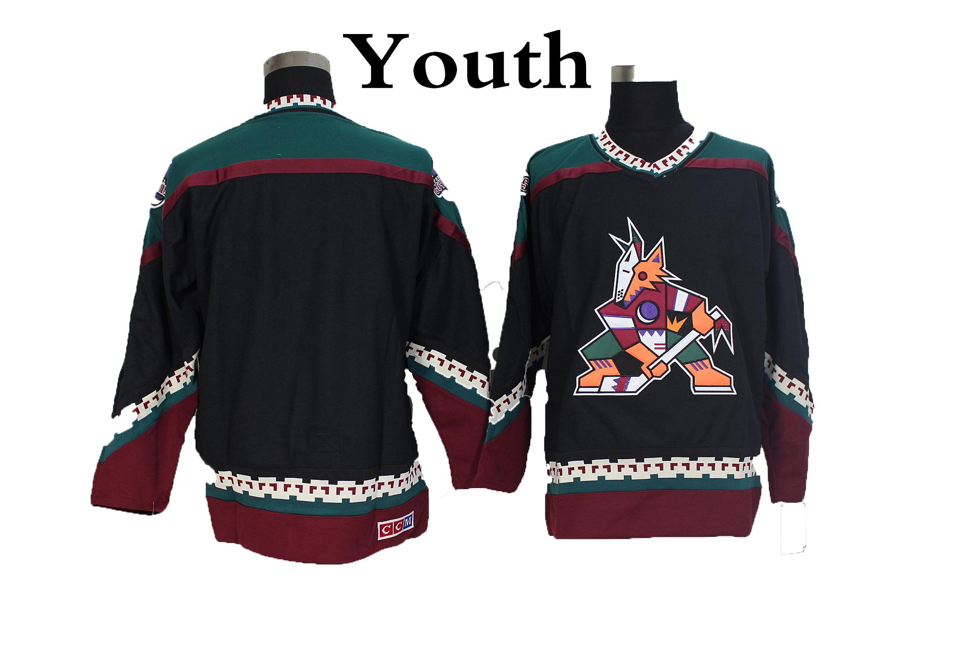 best loved 7d661 4ea6f Youth Phoenix Coyotes Hockey Jerseys Black Blank Vintage Arizona Coyotes  Retro Kids Jerseys CCM Stitched boys Hockey Shirts Cheap