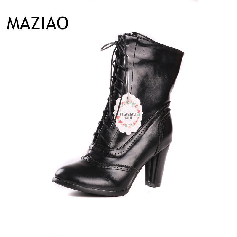 huge discount b044a 97f55 Frauen Stiefel Schwarz Stiefel Damen Herbst Spitz Chunky High Heels Große  Größe 9 10 Lace Up Plain Gelb Mitte Kalb Boot
