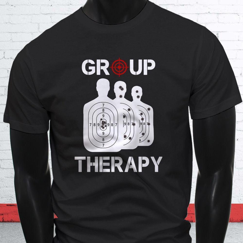 b4205735a GROUP THERAPY GUN 2ND AMENDMENT TARGET SHOOTING Mens Black T Shirt Humor  Shirts Offensive T Shirt From Lijian84, $12.08| DHgate.Com