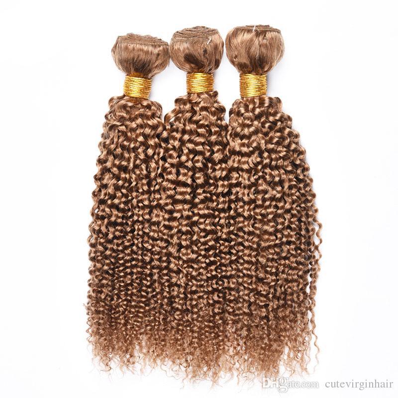 Brasilianischer Honig blonde menschliche haare 3 bündel kinky lockig malaysisch peruaner 27 # reine farbe lockige jungfrau menschliche haare weben verlängerung