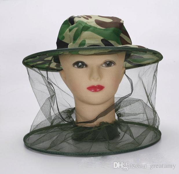 Moda verão ao ar livre chapéu de camuflagem com tampa de malha midge mosquito insetos chapéu bug cabeça de malha net face protetor de viagem camping