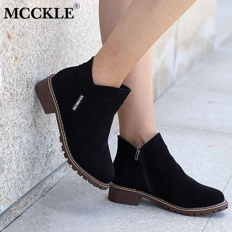 45ab9c852a935 Ankle Boots Female Square Low Heels Zipper Scrub Platform 2018 Women's  Autumn Shoes Ladies Black Short Boots For Woman
