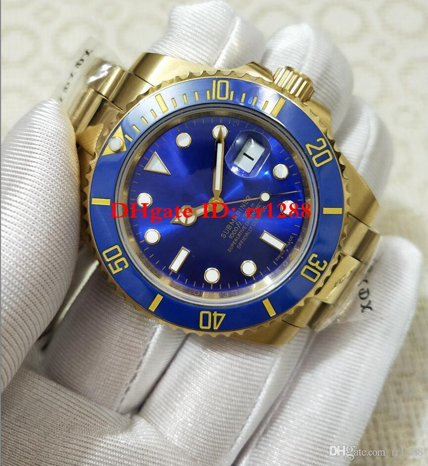 free shipping 878c9 4e0e3 Mens Watches 2813 movement Watches 116618LB 116618 40MM Steel blue dial  yellow gold sub Men s watch Ceramic bezel Sport Calendar watches