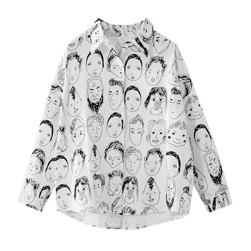 4316ffee6118 Women Street-wear Cartoon Character Shirts 2018 Japan Harajuku Style Girls'  Cotton Linen Printed Casual Spring Summer Tops