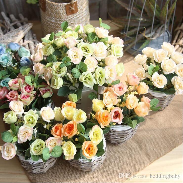 Grosshandel Gefalschte Blumen Persische Rose Grune Milch Weisse