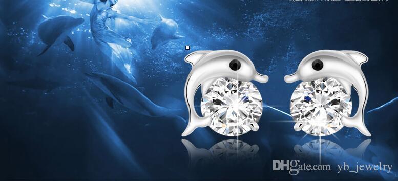 Doğal Avusturyalı Rhinestone Kristal Dolphin S925 gümüş saplama Küpe Klasik Swarovski Elements Moda Sınıf Kadınlar Kızlar Hediye
