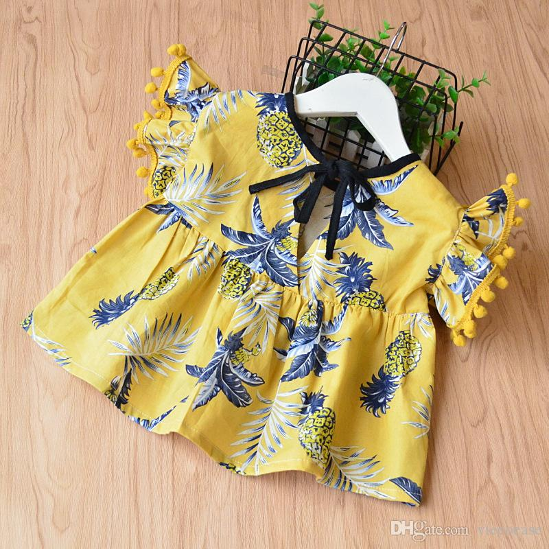 Vieeoease Girls Sets Pineapple Kids Clothing 2018 Summer Ball Cotton Tassel Top + Lace Shorts Children Outfits EE-353