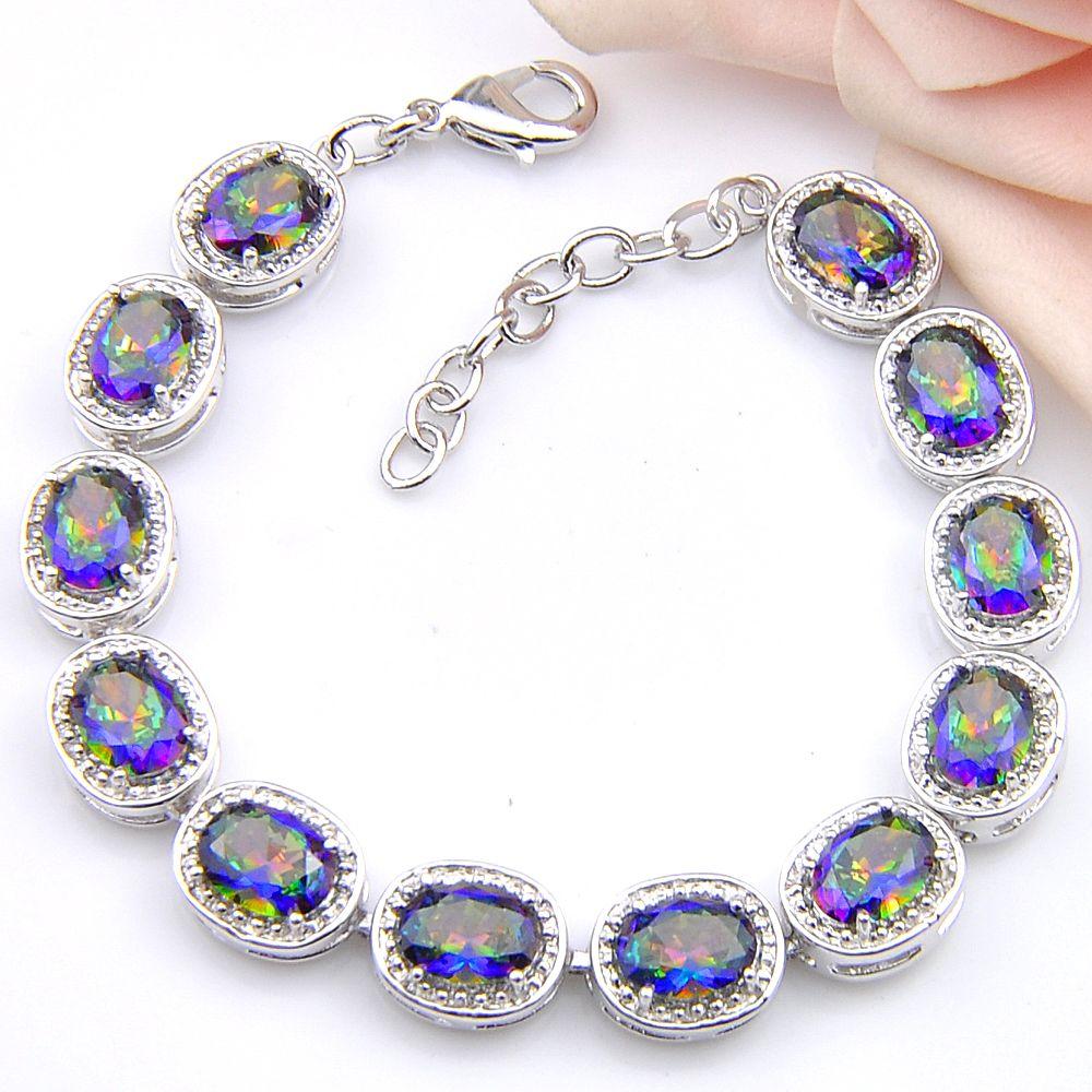 -Los Retro Rainbow Natural Mystic Topaz Gem Luckyshine 925 Silber für Frauen-Hochzeits-Geschenk Zircon-Armband 8 Zoll