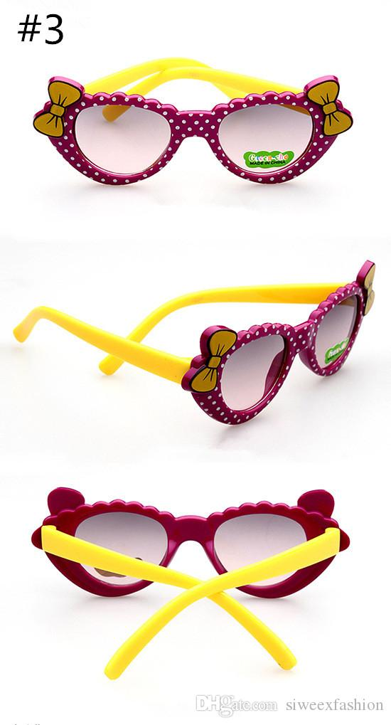 Sevimli çok Renkli yay Tarzı Karikatür Dekor Çocuk Güneş Gözlüğü trendy çocuk gözlük