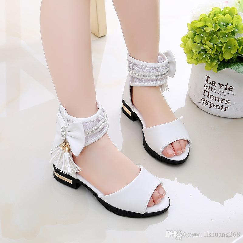 a3219337b23a 2018 Summer Baby Girls Princess Flat Sandals Kids PU Leather Tassel Casual  Heel Sandals Fashion Children Student Shoes Eur 27 37 Boys Sandals Sale Shoe  For ...
