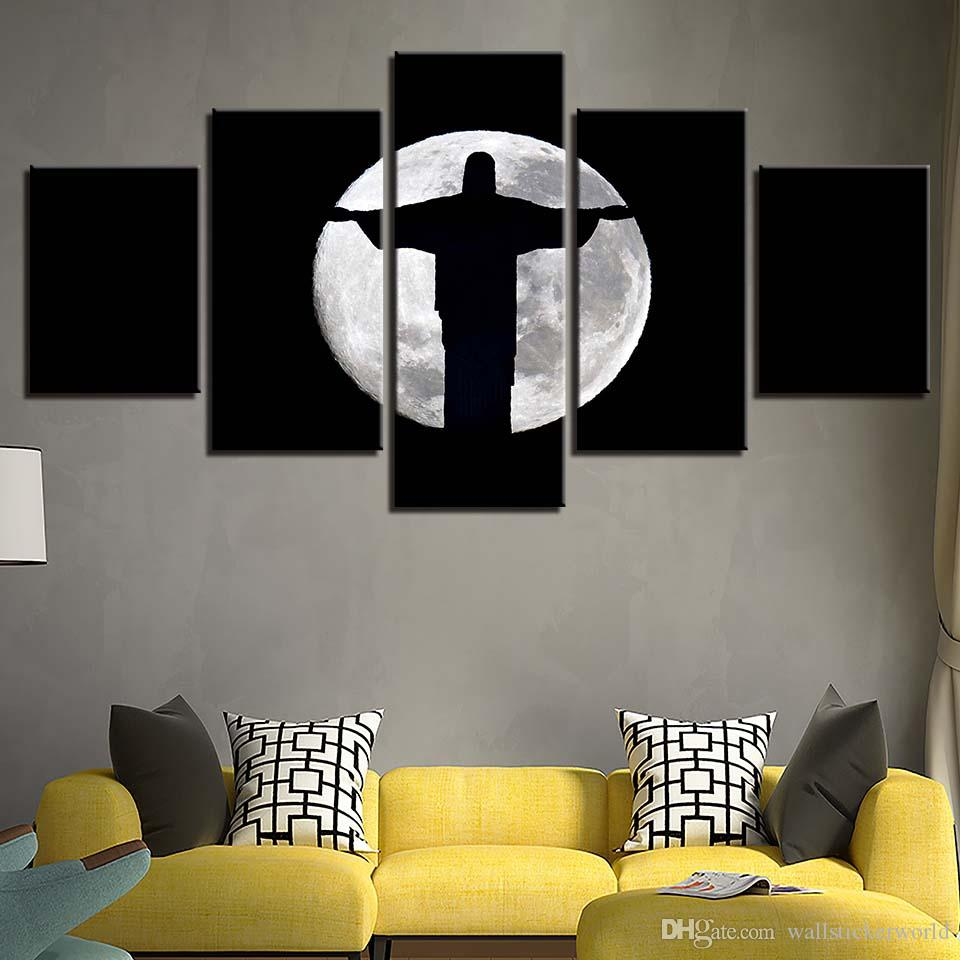 Canvas Paintings Living Room Wall Art Framework Jesus Christ Moon Shadow  Posters HD Prints Abstract Pictures Home Decor Fine Art Painting Canvas  Painting ...