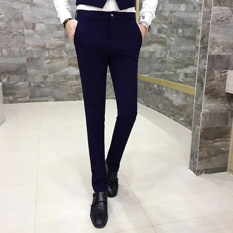2018 Pure Color Mens Formal Dress Trousers Black Blue Purple Fashion