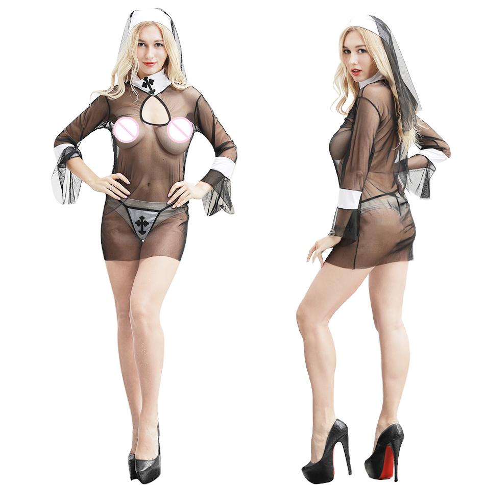 bb3eff269 Sexy Lingerie Hot Erotic Women Cosplay Nuns Uniform Transparent Sexy ...