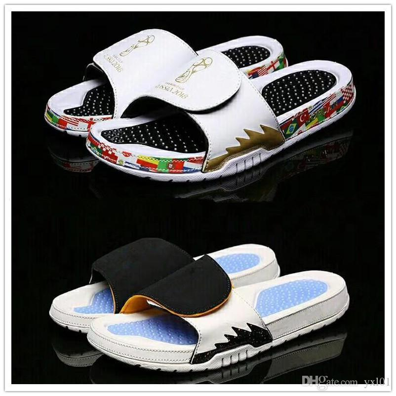 0c11ce8e7 2018 New Style Hydro 5 Sandals Russia World Cup Massage Slippers For Top Mens  Slides Sports Shoes 5s Zapatillas Casual Slipper Size 40 47 Desert Boots  Mens ...