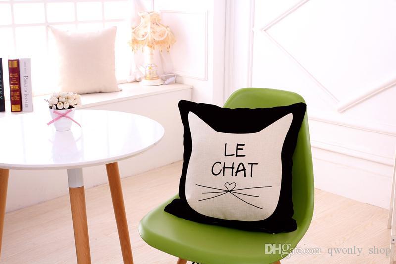 45*45cm Black Cats Pillow Case Cotton Linen Square Cushion Sofa Car Livingroom Bedroom Pillow Covers 7 Designs