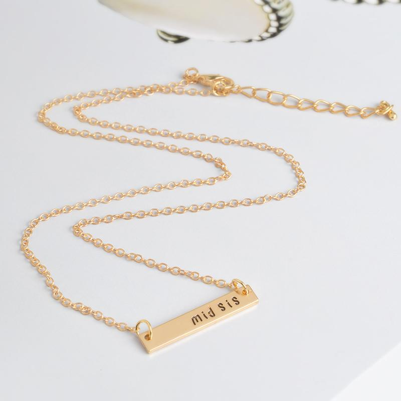 big sis mid sis lil sis Tag Pendant Necklace BFF Chain Simple Special Gift For Mother Daughter Family Friends Jewelry