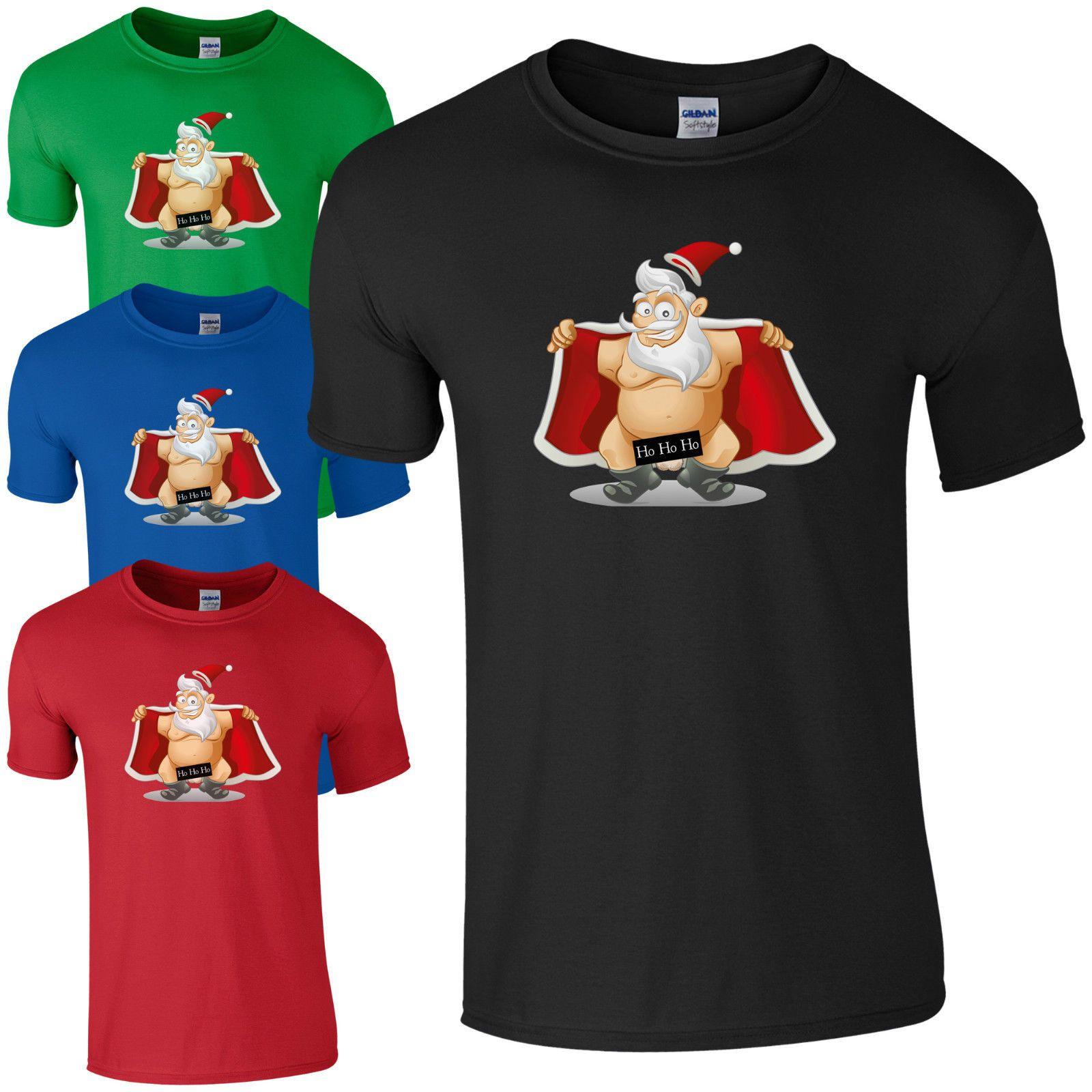 6fcc4859 Naughty Santa Flashing Ho Ho Ho T Shirt Funny Rude Christmas Gift Joke Men  Top Cartoon T Shirt Men Fun Tee Shirts Silly T Shirts From Cls6688523, ...