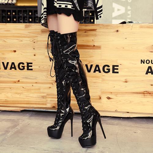 3827a221d282e5 14 cm Sexy Patent PU Leder Rote Untere Schnürung Plattform Stiefel  Damenmode High Heel Overknee Stiefel Schuhe Größe 34 bis 40