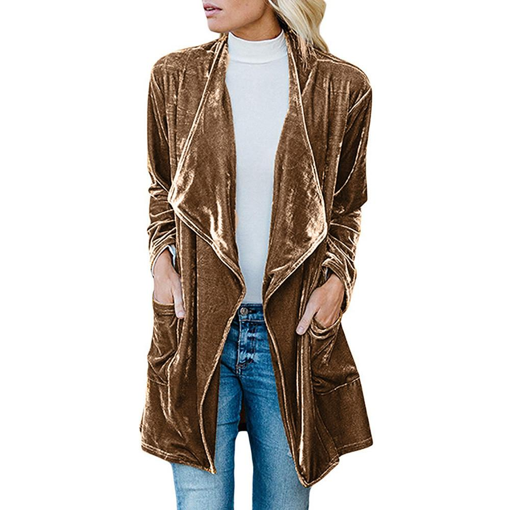 e93ea513067 2019 Winter New Style Beading Luxury Cardigan Jackets Womens Drape Velvet  Jacket Open Front Cardigan Coat With Pockets #8 From Xx2015, $30.68    DHgate.Com