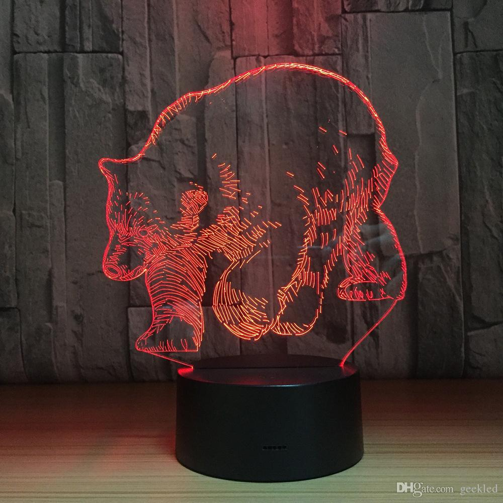 Bear 3D Optical Illusion Lamp Night Light DC 5V USB Charging AA Battery Wholesale Dropshipping