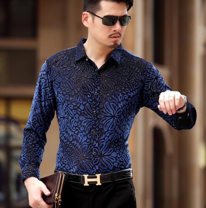 b3c13dd301666e 2019 Top Fashion Trendy Luxury Mens Silk Shirts Formal See Through Velvet  Shirt Slim Fit Thin Sexy Dress Shirts Drop Shipping From Karel