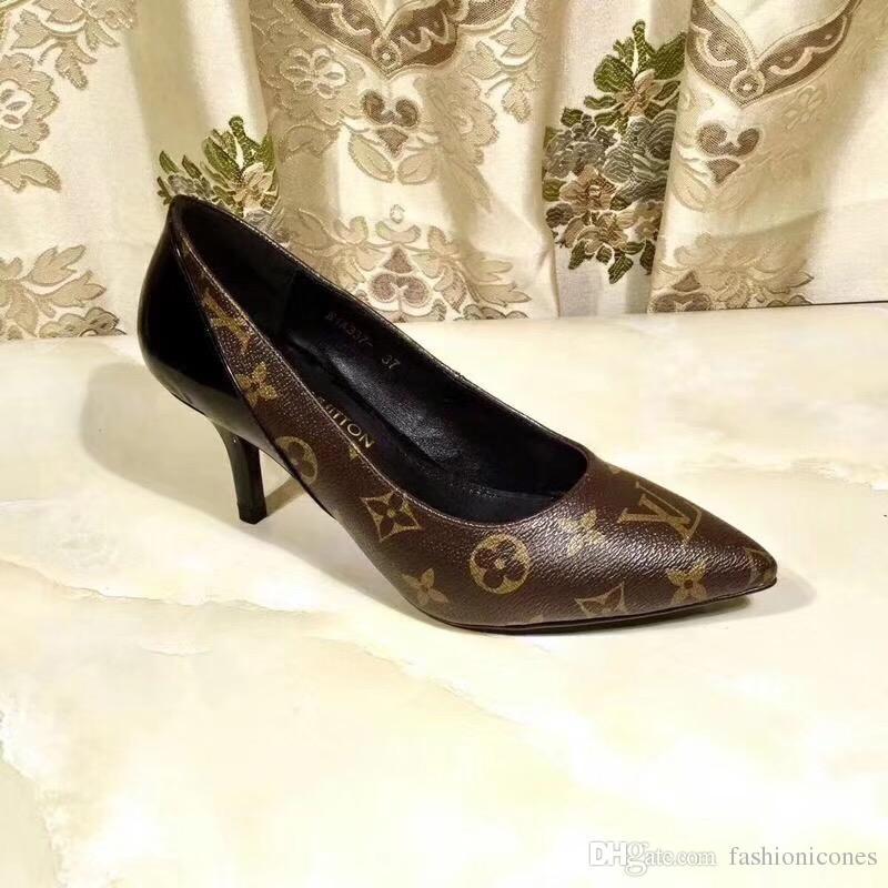 3e29f631 Compre Zapatos De Diseñador De La Marca De Lujo Color Clásico Antigua Flor  7cm Tacones Con Zapatos De Vestir De Mujer De Cuero Genuino Con Espejo  Zapatos De ...