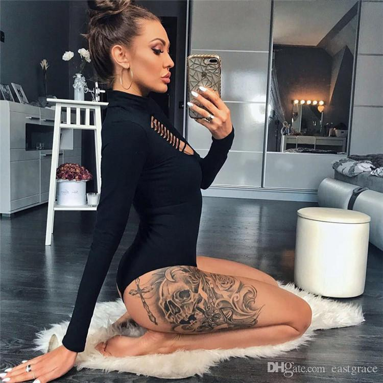 Womens Sexy Black Bodycon Sweater Tops Girls Bodysuit Playsuit Short Rompers Long Sleeved Front Hollow out jumpsuits
